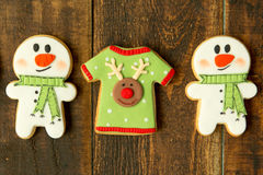 Delicius Christmas cookies. On a wooden table Stock Images
