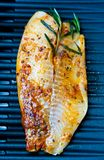 Delicius fish bbq. Closeup of delicius fish fillet on the grill Stock Photography