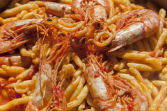 Delicius hand made pasta with seafood Stock Images