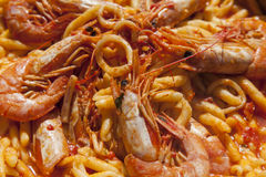 Delicius hand made pasta with seafood Stock Photo
