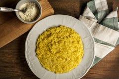 Delicius Italian risotto rice with saffron Stock Photos