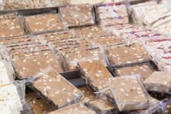 Delicius Nougat. Nougat is a typical sweet Italian handcrafted in the tradition Stock Image