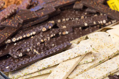Delicius Nougat. Nougat is a typical sweet Italian handcrafted in the tradition Stock Photo