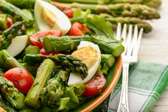 Delicius salad with green asparagus, tomatoes and eggs Royalty Free Stock Images