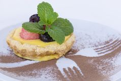 Delicous vaniljsås Berry Tart Supreme Dessert royaltyfria bilder