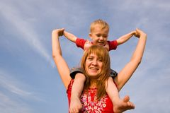 Delight!. Mom and son in park Stock Images