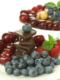 Delight. Sweetness from healthy fruits and harmful chocolate Stock Images