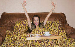 Delight from a breakfast in bed Royalty Free Stock Photography
