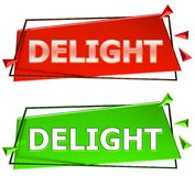 Delight sign. Delight modern 3d sign isolated on white background,color red and green vector illustration