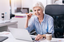 Delighted aged businesswoman using the laptop in the office royalty free stock images