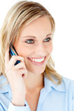 Delighted businesswoman talking on phone Royalty Free Stock Photos