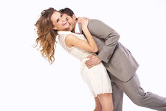 Delighted couple hugging each other Stock Images