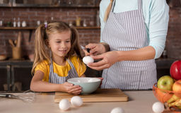 Delighted daughter cooking with her mother in the kitchen Stock Image