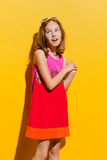 Delighted fashion little girl singing Stock Image