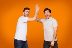 Delighted Friends Giving High Five Gesture, Orange Background royalty free stock photo