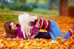 Delighted girls, friends having fun among fallen leaves in autumn park Stock Photos