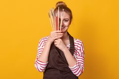 Delighted inspired artist posing  over yellow background in studio, holding paint equipment, covering half of face with. Brushes, having pleasant facial royalty free stock photos