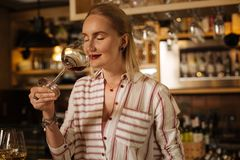 Delighted joyful female sommelier checking the wine smell. So delicious. Delighted joyful woman smiling while checking the wine smell royalty free stock photos