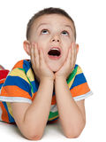 Delighted little boy on the white Royalty Free Stock Images