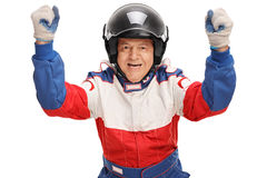 Delighted mature car racer Royalty Free Stock Photo