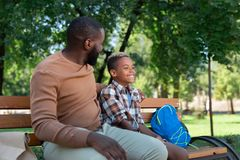 Delighted nice father and son sitting on the bench. Pleasant relaxation. Delighted nice father and son sitting on the bench while resting together royalty free stock images