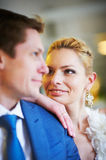Delighted and ogle women on her man. Delighted and ogle women on her men indoors closeup Royalty Free Stock Image