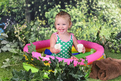 Delighted Playing in Her Pool Stock Photos