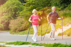 Delighted positive couple leading an active lifestyle. We love sport. Delighted positive aged couple walking along the road with the walking poles and smiling stock photography