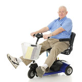 Delighted Senior Scooter Driver Stock Photography