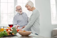 Delighted senior woman cooking dinner. Healthy food. Delighted nice senior women standing in the kitchen while cooking dinner Royalty Free Stock Image