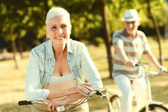 Delighted senior woman enjoying her weekend Royalty Free Stock Images