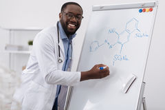 Delighted smart man studying organic chemistry Royalty Free Stock Photos