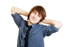 Delighted student relaxing Royalty Free Stock Photo