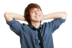 Delighted student relaxing Stock Photography