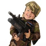 Delighted with Toy Machine Gun Stock Images