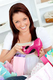 Delighted woman with shopping bags Stock Photo