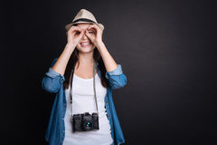 Delighted woman waiting holidays. Royalty Free Stock Photography