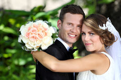 Delighted young newlywed couple Royalty Free Stock Images