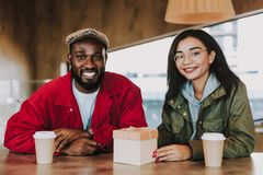 Free Delighted Young People Feeling Happy While Sitting With Little Present Stock Images - 129379214