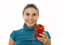 Delighted young woman. With a present Stock Photo