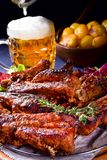 Delightful BBQ Spareribs from the Smoker. A Delightful BBQ Spareribs from the Smoker Stock Photos