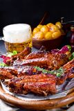 Delightful BBQ Spareribs from the Smoker. A Delightful BBQ Spareribs from the Smoker stock photography