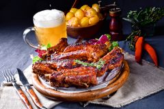 Delightful BBQ Spareribs from the Smoker. A Delightful BBQ Spareribs from the Smoker Royalty Free Stock Photos