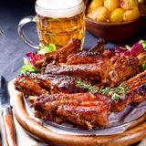 Delightful BBQ Spareribs from the Smoker. A Delightful BBQ Spareribs from the Smoker Royalty Free Stock Image