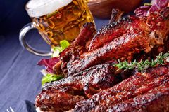 Delightful BBQ Spareribs from the Smoker. A Delightful BBQ Spareribs from the Smoker stock images