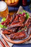 Delightful BBQ Spareribs from the Smoker. A Delightful BBQ Spareribs from the Smoker royalty free stock images