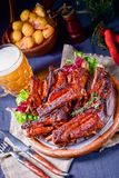 Delightful BBQ Spareribs from the Smoker. A Delightful BBQ Spareribs from the Smoker royalty free stock photo