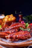 Delightful BBQ Spareribs from the Smoker. A Delightful BBQ Spareribs from the Smoker Stock Image