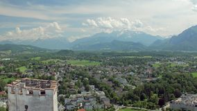 Delightful breathtaking landscape on area of Salzburg city and Alps mountains in sunny summer day stock video footage