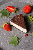 Delightful cocoa cake with cottage cheese filling Stock Photo